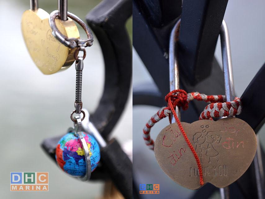 những ổ khóa dễ thương trên cầu tình yêu